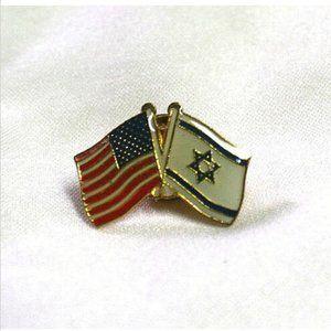Friendship Pin USA Flag Israeli Flag Enameled